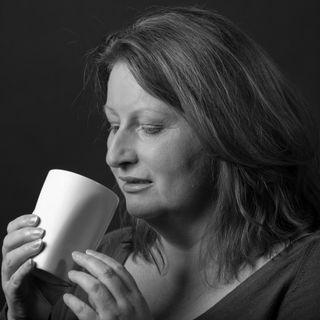 Karon McBride drinking tea